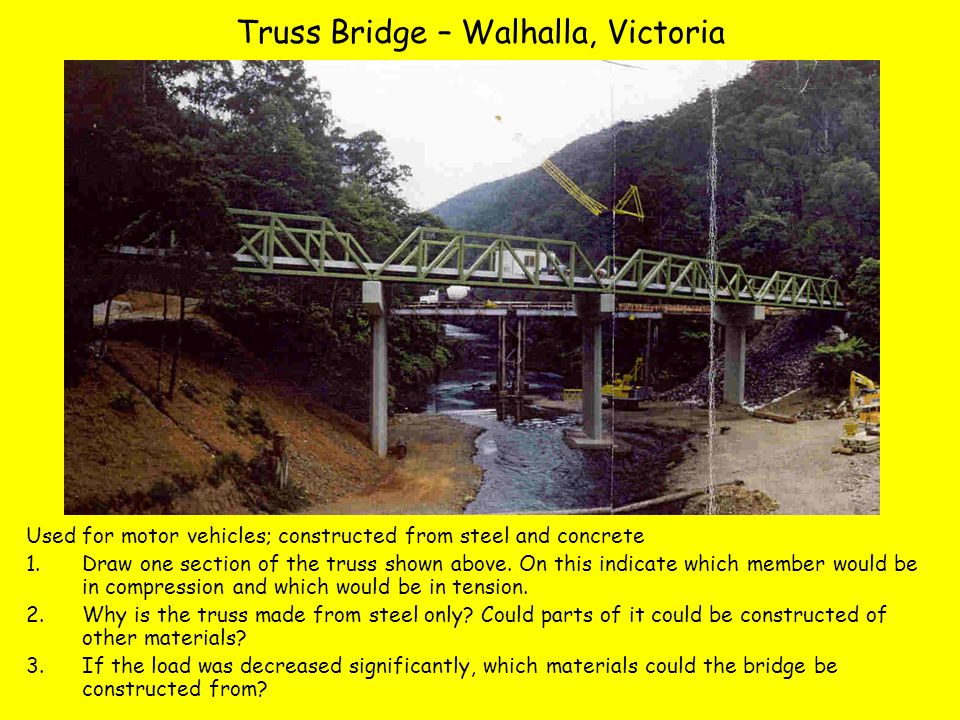 Truss Bridge – Walhalla, Victoria Used for motor vehicles; constructed from steel and concrete 1.Draw one section of the truss shown above.