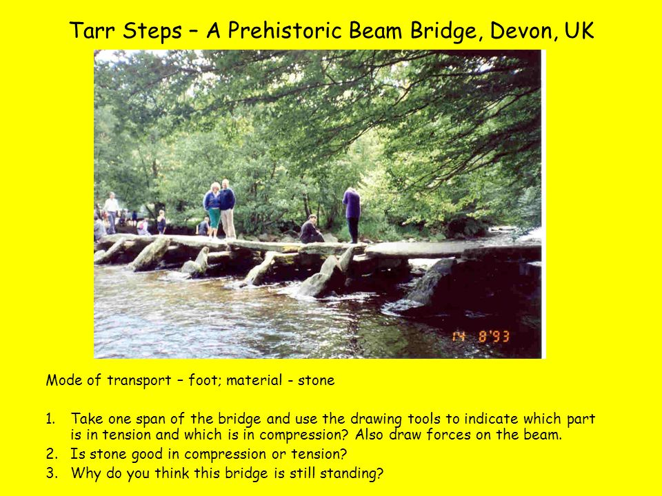 Tarr Steps – A Prehistoric Beam Bridge, Devon, UK Mode of transport – foot; material - stone 1.Take one span of the bridge and use the drawing tools to indicate which part is in tension and which is in compression.