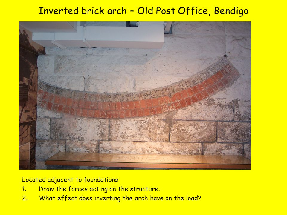 Inverted brick arch – Old Post Office, Bendigo Located adjacent to foundations 1.Draw the forces acting on the structure.