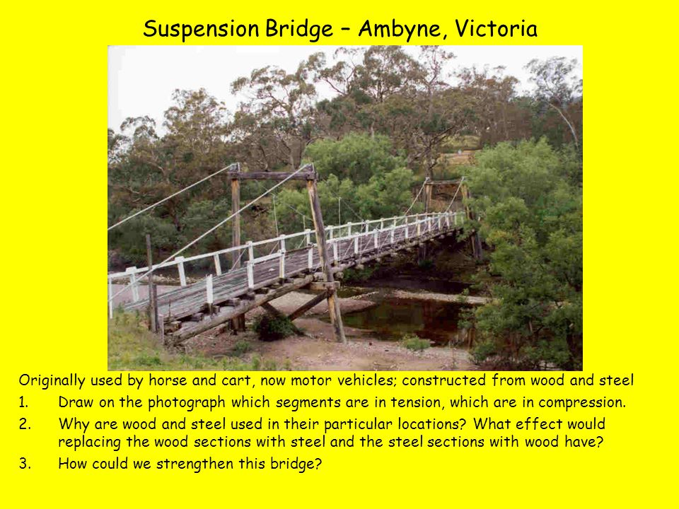 Suspension Bridge – Ambyne, Victoria Originally used by horse and cart, now motor vehicles; constructed from wood and steel 1.Draw on the photograph which segments are in tension, which are in compression.