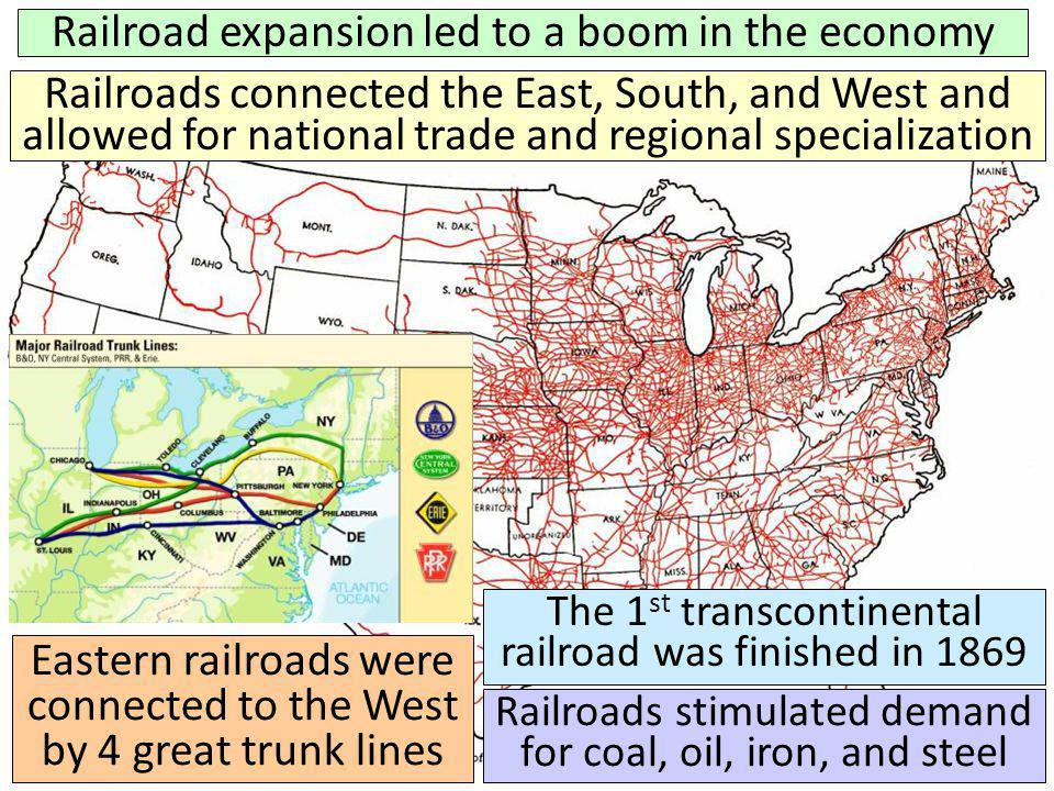 Railroad expansion led to a boom in the economy Railroads connected the East, South, and West and allowed for national trade and regional specializati