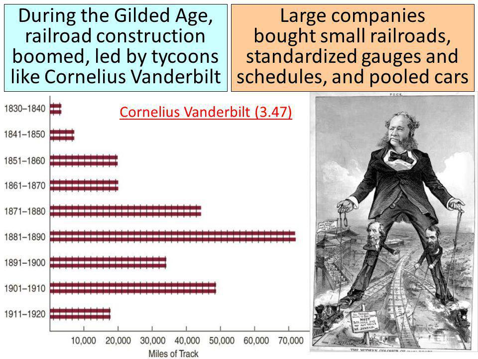 During the Gilded Age, railroad construction boomed, led by tycoons like Cornelius Vanderbilt Large companies bought small railroads, standardized gauges and schedules, and pooled cars Cornelius Vanderbilt (3.47)