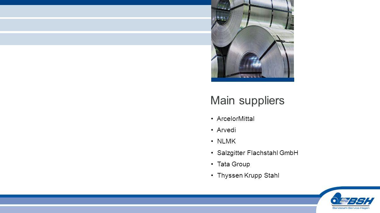 ArcelorMittal Arvedi NLMK Salzgitter Flachstahl GmbH Tata Group Thyssen Krupp Stahl Main suppliers