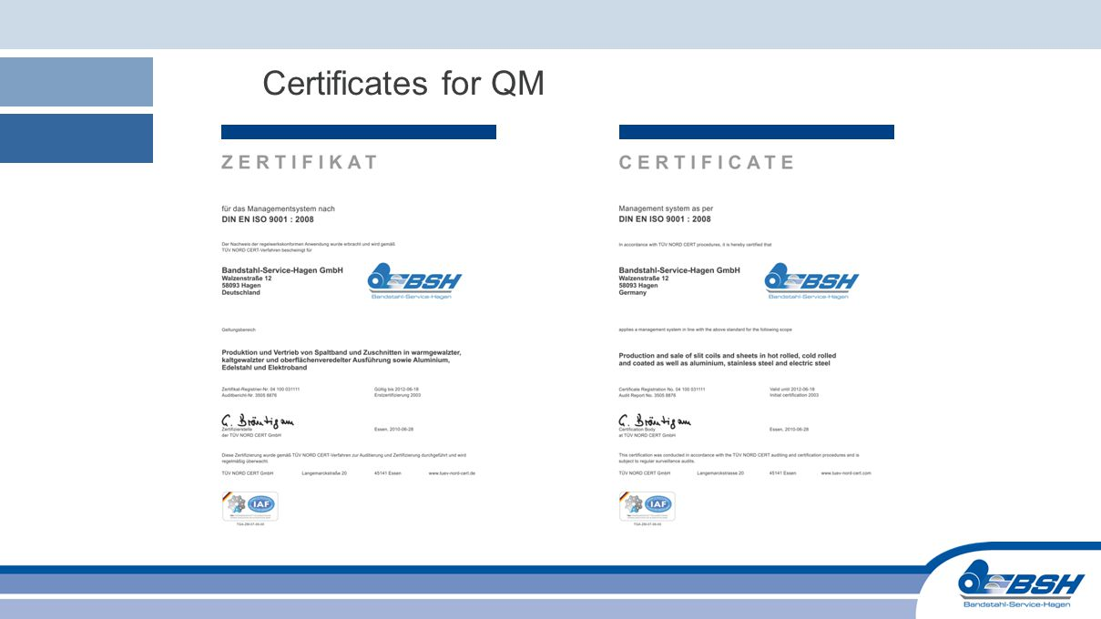 Certificates for QM