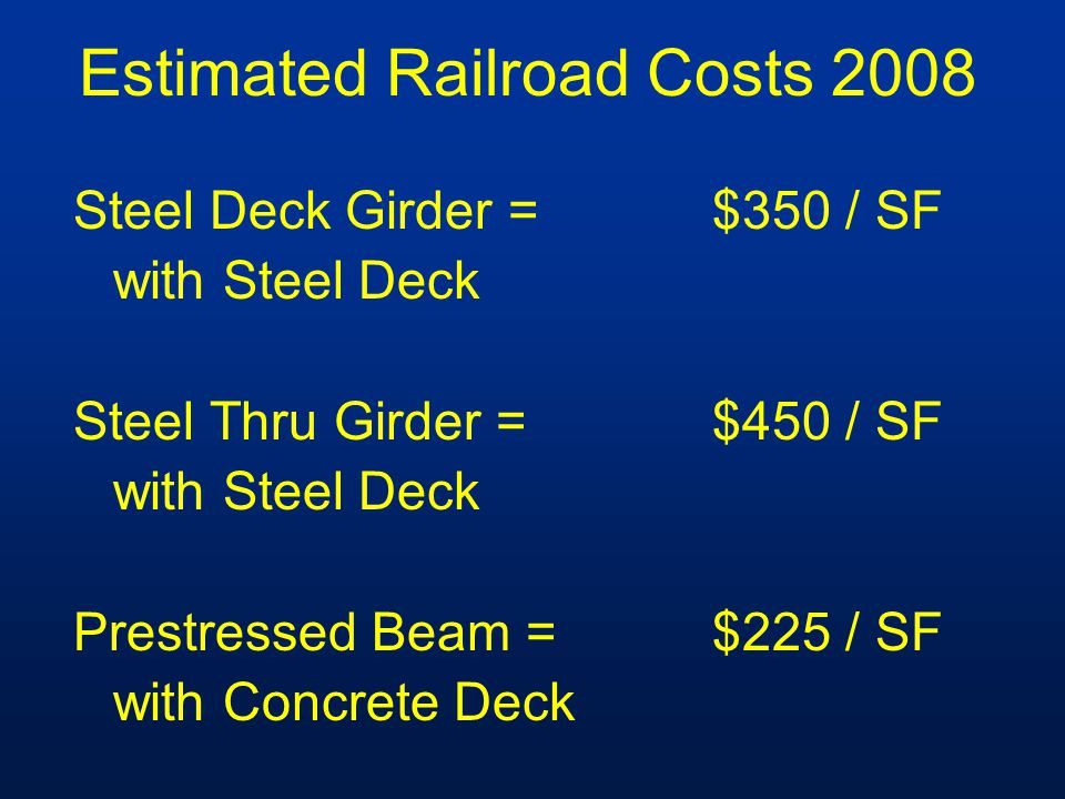 Estimated Railroad Costs 2008 Steel Deck Girder =$350 / SF with Steel Deck Steel Thru Girder =$450 / SF with Steel Deck Prestressed Beam =$225 / SF with Concrete Deck