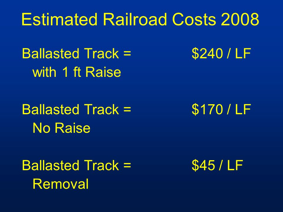 Estimated Railroad Costs 2008 Ballasted Track =$240 / LF with 1 ft Raise Ballasted Track =$170 / LF No Raise Ballasted Track =$45 / LF Removal