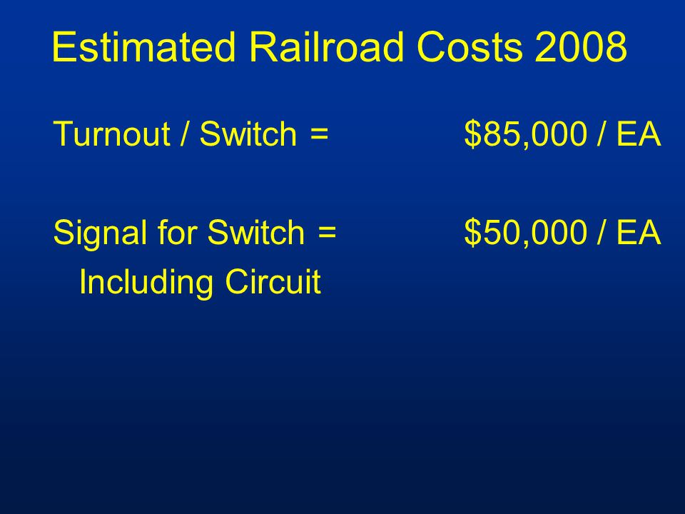 Estimated Railroad Costs 2008 Turnout / Switch =$85,000 / EA Signal for Switch =$50,000 / EA Including Circuit