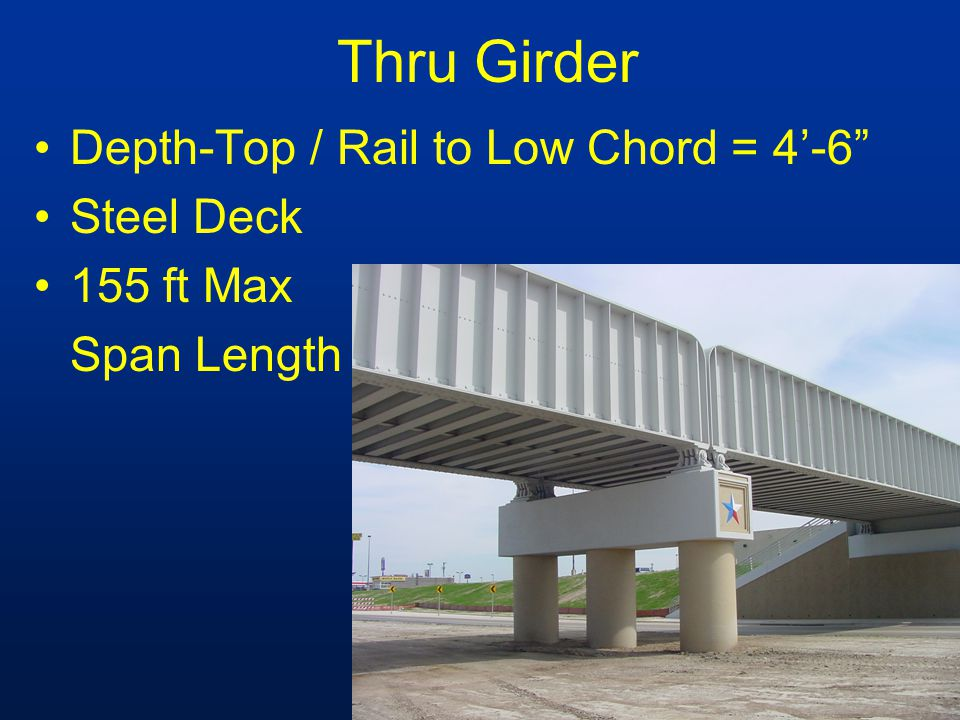 Thru Girder Depth-Top / Rail to Low Chord = 4-6 Steel Deck 155 ft Max Span Length