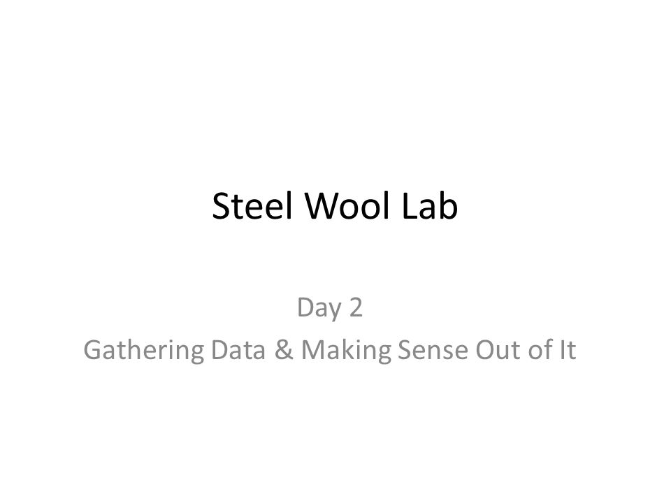 Steel Wool Lab Day 2 Gathering Data & Making Sense Out of It