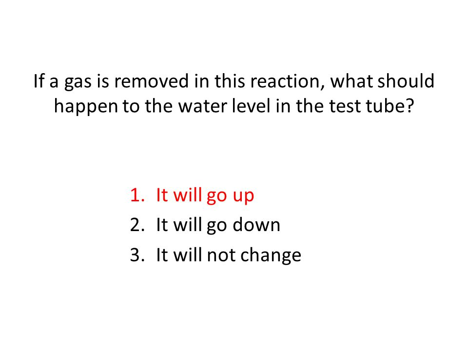 If a gas is removed in this reaction, what should happen to the water level in the test tube.