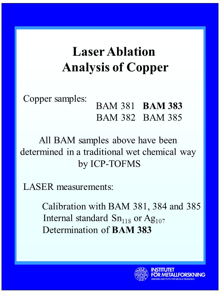 Laser Ablation Analysis of Copper Copper samples: BAM 381 BAM 383 BAM 382 BAM 385 All BAM samples above have been determined in a traditional wet chemical way by ICP-TOFMS LASER measurements: Calibration with BAM 381, 384 and 385 Internal standard Sn 118 or Ag 107 Determination of BAM 383