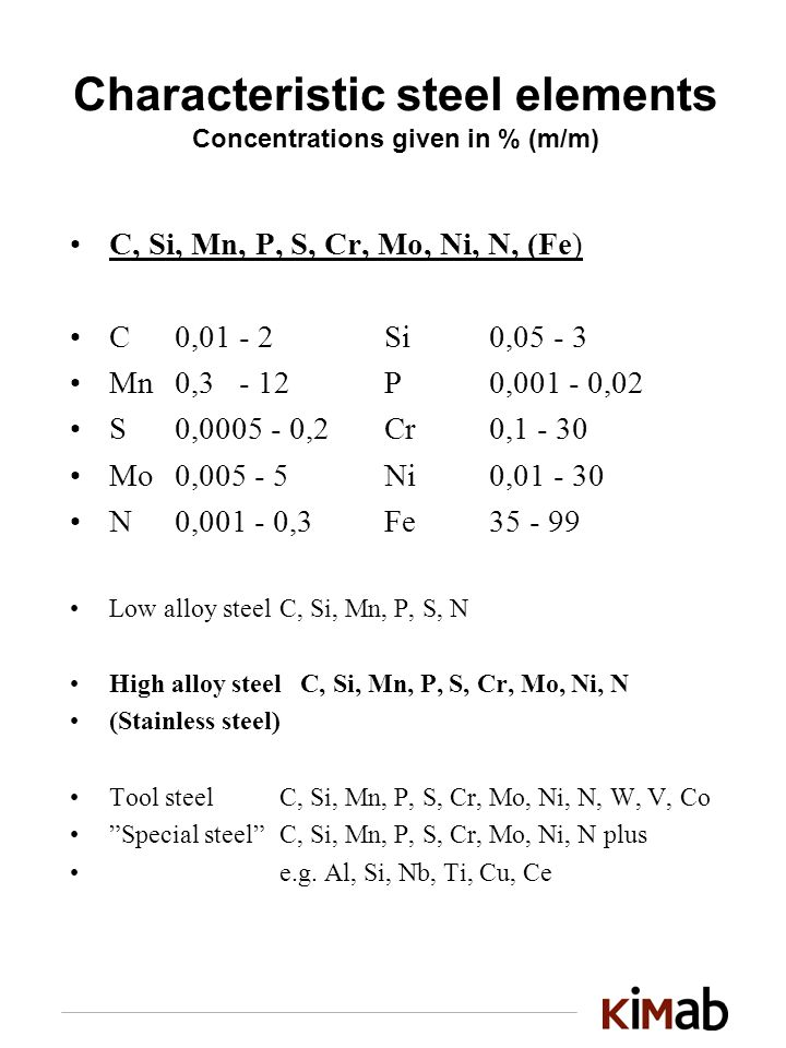 Characteristic steel elements Concentrations given in % (m/m) C, Si, Mn, P, S, Cr, Mo, Ni, N, (Fe) C0,01 - 2Si0, Mn0,3 - 12P0, ,02 S0, ,2Cr0, Mo0, Ni0, N0, ,3Fe Low alloy steel C, Si, Mn, P, S, N High alloy steel C, Si, Mn, P, S, Cr, Mo, Ni, N (Stainless steel) Tool steelC, Si, Mn, P, S, Cr, Mo, Ni, N, W, V, Co Special steelC, Si, Mn, P, S, Cr, Mo, Ni, N plus e.g.