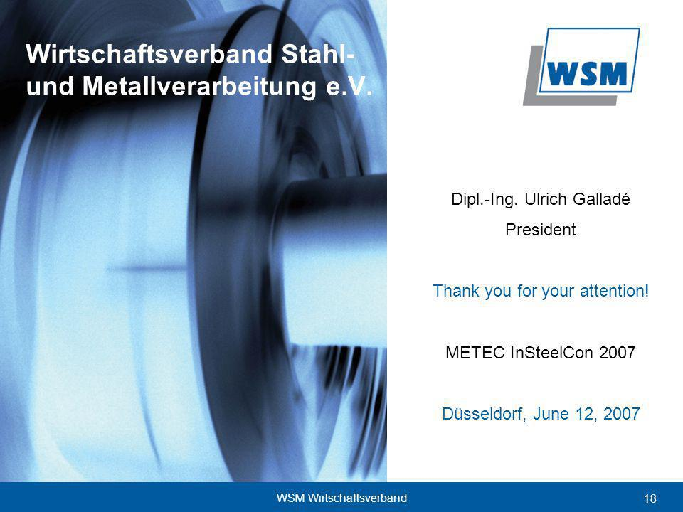 18 WSM Wirtschaftsverband Dipl.-Ing. Ulrich Galladé President Thank you for your attention.