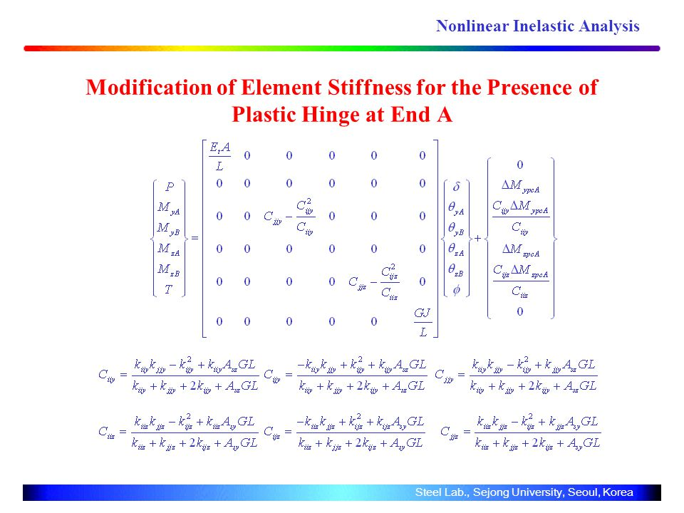 Modification of Element Stiffness for the Presence of Plastic Hinge at End A Steel Lab., Sejong University, Seoul, Korea Nonlinear Inelastic Analysis