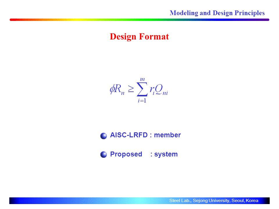Design Format AISC-LRFD : member Proposed : system Modeling and Design Principles Steel Lab., Sejong University, Seoul, Korea