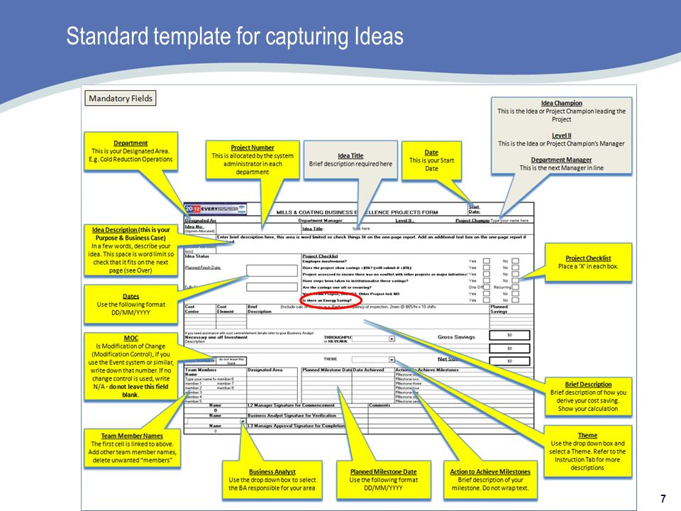 Standard template for capturing Ideas 7