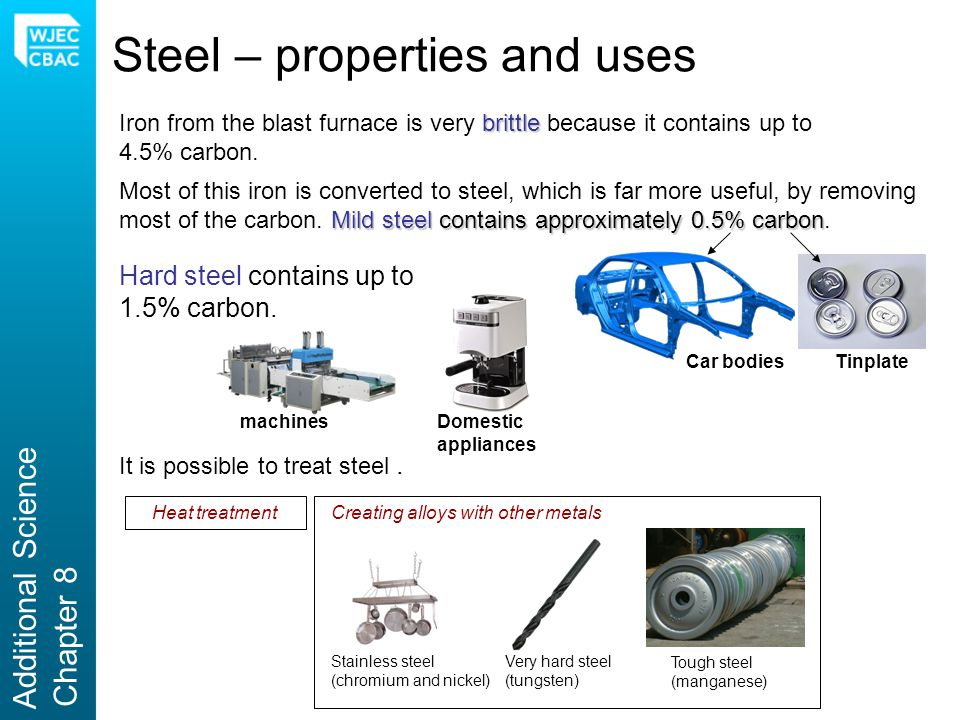 Steel – properties and uses brittle Iron from the blast furnace is very brittle because it contains up to 4.5% carbon. Mild steel contains approximate