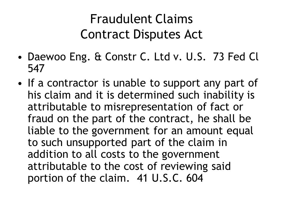 Fraudulent Claims Contract Disputes Act Daewoo Eng.