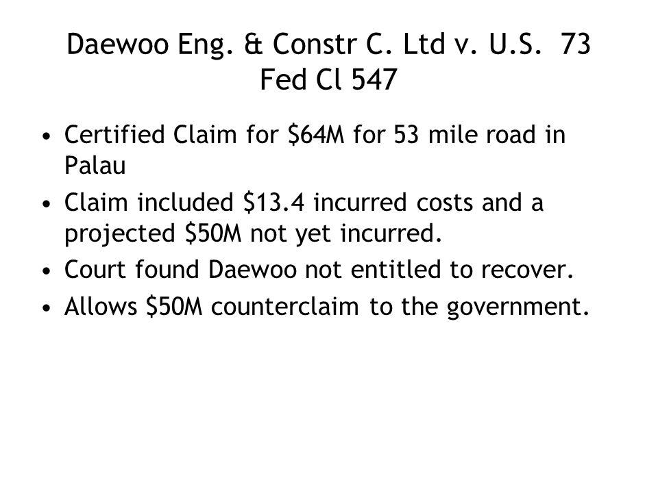 Daewoo Eng. & Constr C. Ltd v. U.S.