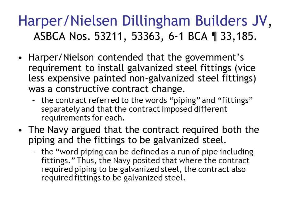 Harper/Nielsen Dillingham Builders JV, ASBCA Nos. 53211, 53363, 6-1 BCA ¶ 33,185.