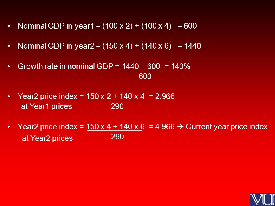 GDP deflator: 2.966X = 4.966 x100 X = 167.4% which is the price level in percentage terms prevailing in the current year (Year2) relative to the price level of Year1 Real GDP = 1440 x 100 = 860 167.4 Growth rate = 860 – 600 = 43% 600