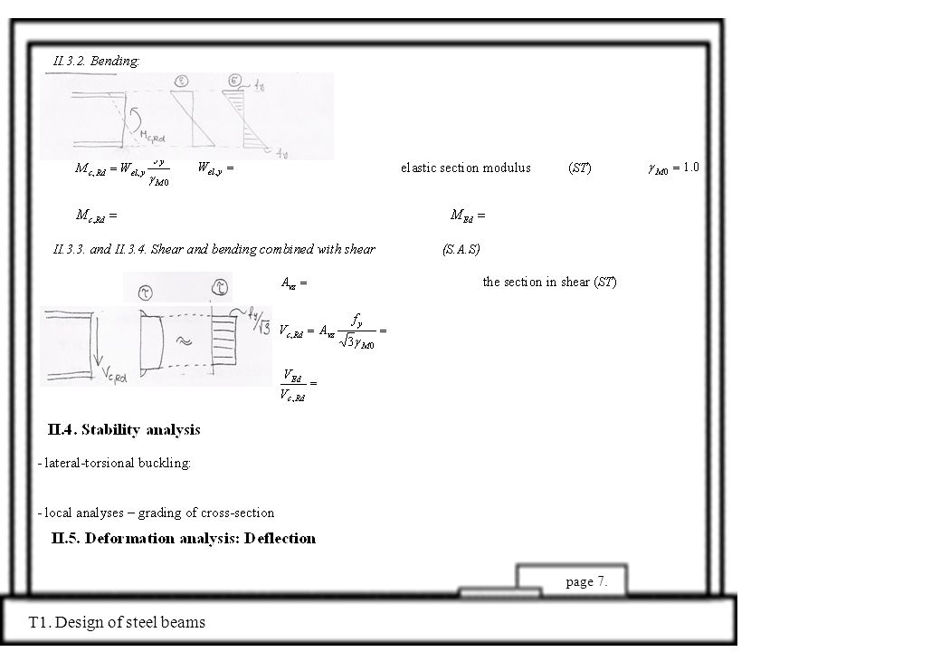 page 7. T1. Design of steel beams