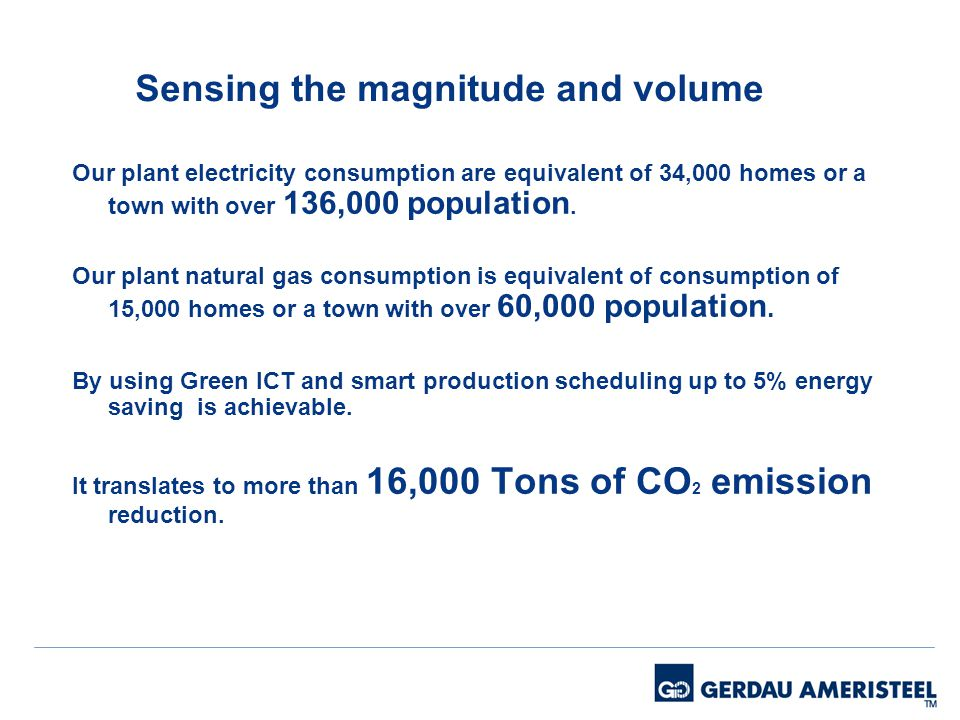 Sensing the magnitude and volume Our plant electricity consumption are equivalent of 34,000 homes or a town with over 136,000 population.