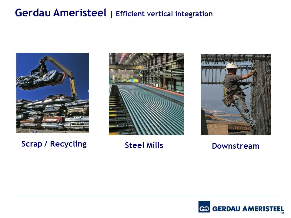 Scrap / Recycling Steel Mills Downstream Gerdau Ameristeel | Efficient vertical integration