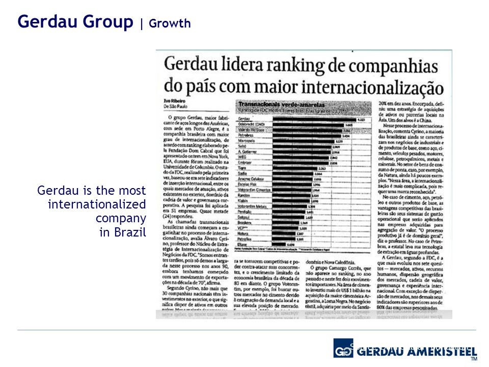 Gerdau is the most internationalized company in Brazil Source: Dom Cabral Foundation Internationalization Gerdau Group | Growth