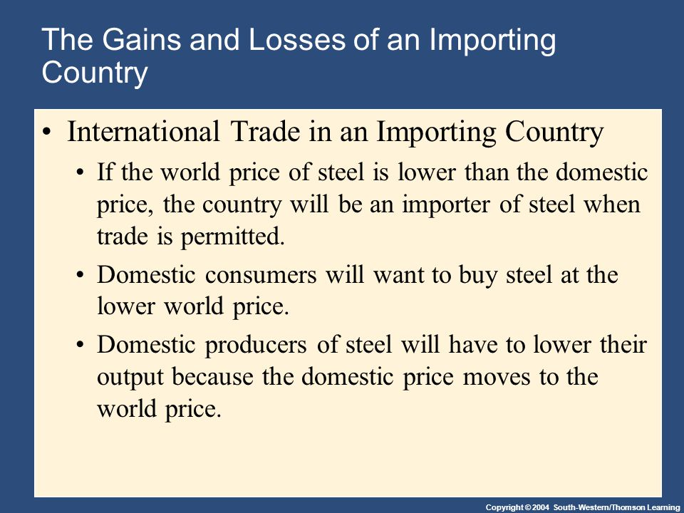 Copyright © 2004 South-Western/Thomson Learning The Gains and Losses of an Importing Country International Trade in an Importing Country If the world price of steel is lower than the domestic price, the country will be an importer of steel when trade is permitted.