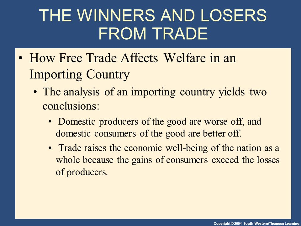 Copyright © 2004 South-Western/Thomson Learning THE WINNERS AND LOSERS FROM TRADE How Free Trade Affects Welfare in an Importing Country The analysis