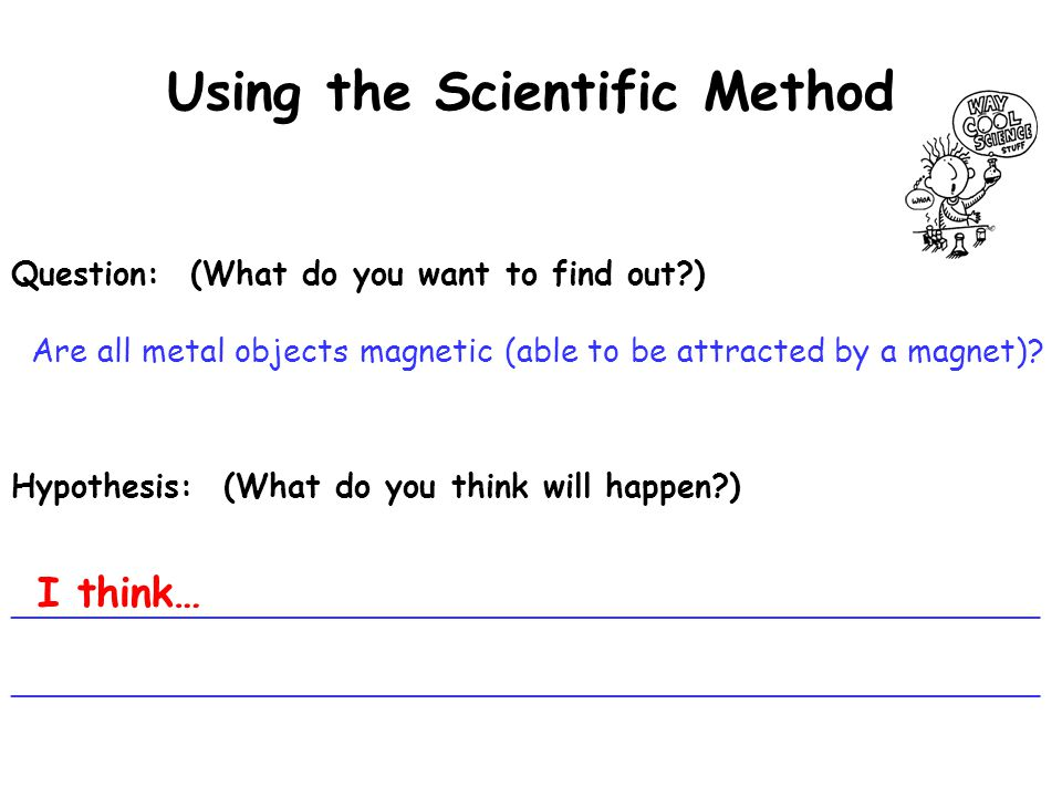 Using the Scientific Method Hypothesis: (What do you think will happen?) ___________________________________________________ Question: (What do you want to find out?) Are all metal objects magnetic (able to be attracted by a magnet).