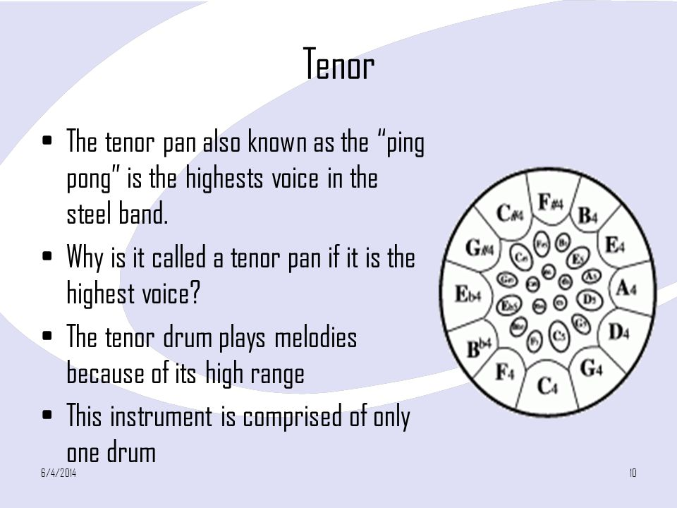 Tenor The tenor pan also known as the ping pong is the highests voice in the steel band.