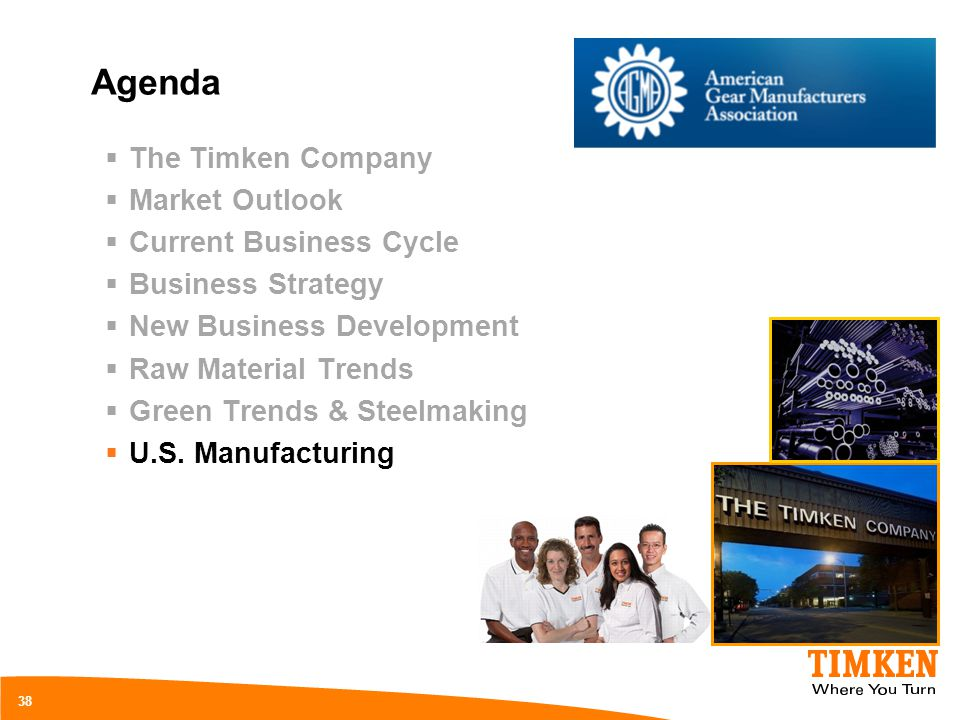 Agenda The Timken Company Market Outlook Current Business Cycle Business Strategy New Business Development Raw Material Trends Green Trends & Steelmak