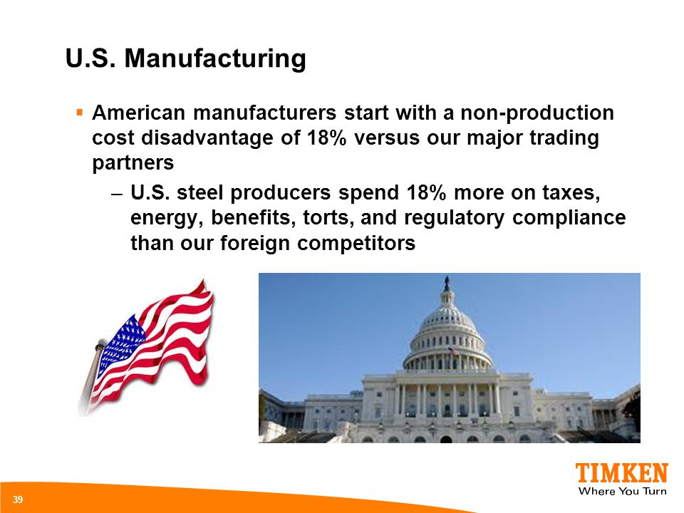U.S. Manufacturing American manufacturers start with a non-production cost disadvantage of 18% versus our major trading partners –U.S. steel producers
