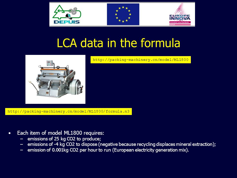 LCA data in the formula http://packing-machinery.cn/model/ML1800 http://packing-machinery.cn/model/ML1800/formula.n3 Each item of model ML1800 requires: –emissions of 25 kg CO2 to produce; –emissions of -4 kg CO2 to dispose (negative because recycling displaces mineral extraction); –emission of 0.001kg CO2 per hour to run (European electricity generation mix).