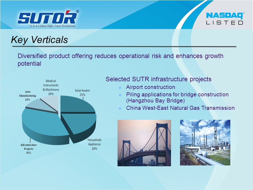 Selected SUTR infrastructure projects Airport construction Piling applications for bridge construction (Hangzhou Bay Bridge) China West-East Natural Gas Transmission Diversified product offering reduces operational risk and enhances growth potential Key Verticals