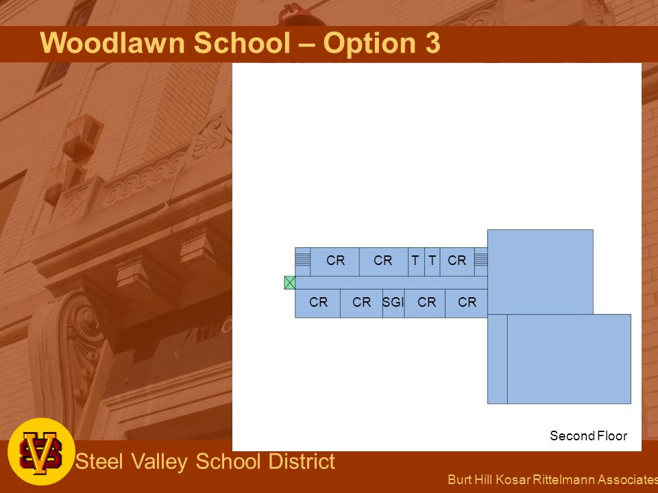 Burt Hill Kosar Rittelmann Associates Steel Valley School District Woodlawn School – Option 3 CR TT SGI Second Floor