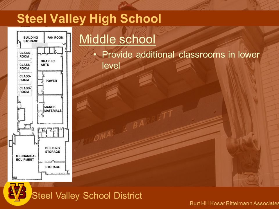 Burt Hill Kosar Rittelmann Associates Steel Valley School District Steel Valley High School Middle school Provide additional classrooms in lower level