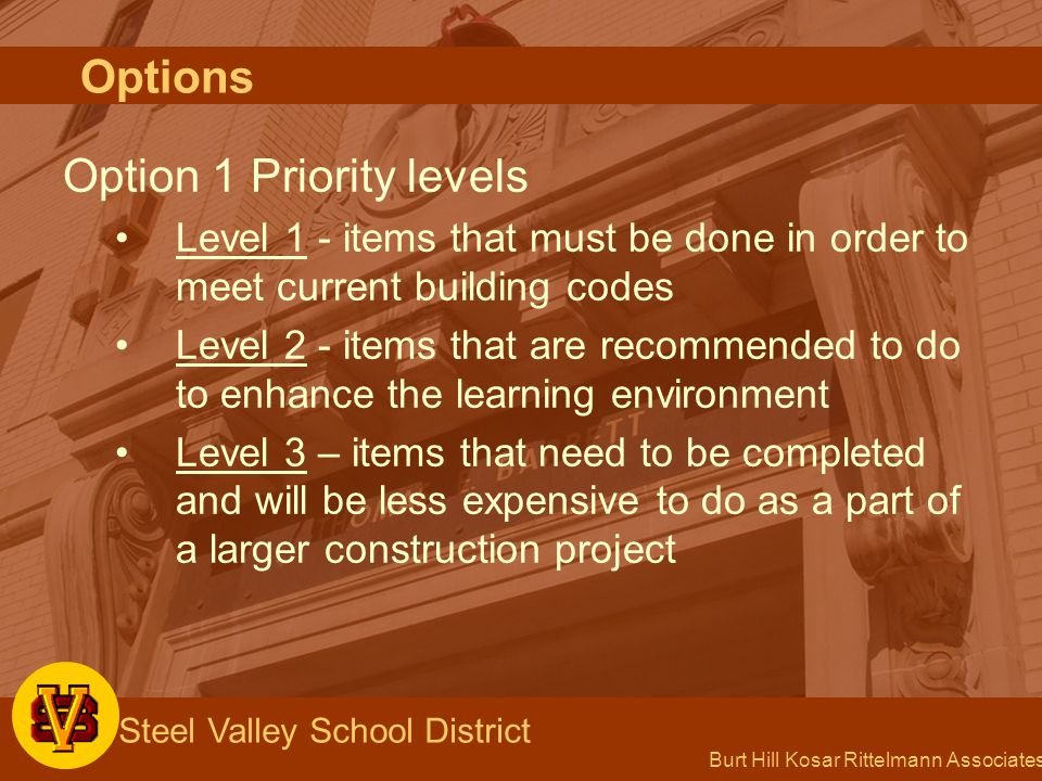 Burt Hill Kosar Rittelmann Associates Steel Valley School District Option 1 Priority levels Level 1 - items that must be done in order to meet current