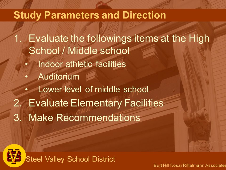 Burt Hill Kosar Rittelmann Associates Steel Valley School District Tasks Completed to Date 1.Evaluated facilities (June 9 and June 12, 2003) 2.Questionnaires and discussion with district faculty and staff (June 13, 2003) 3.Board workshop (September 11, 2003) 4.Developed options 5.Draft of study delivered to district (November 7, 2003) 6.Board Workshop (February 23,2004)