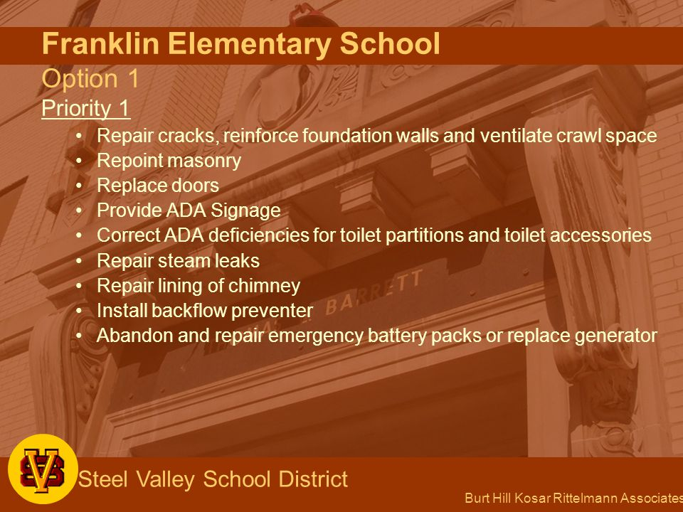 Burt Hill Kosar Rittelmann Associates Steel Valley School District Franklin Elementary School Option 1 Priority 1 Repair cracks, reinforce foundation walls and ventilate crawl space Repoint masonry Replace doors Provide ADA Signage Correct ADA deficiencies for toilet partitions and toilet accessories Repair steam leaks Repair lining of chimney Install backflow preventer Abandon and repair emergency battery packs or replace generator