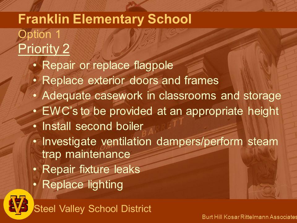 Burt Hill Kosar Rittelmann Associates Steel Valley School District Franklin Elementary School Option 1 Priority 2 Repair or replace flagpole Replace e