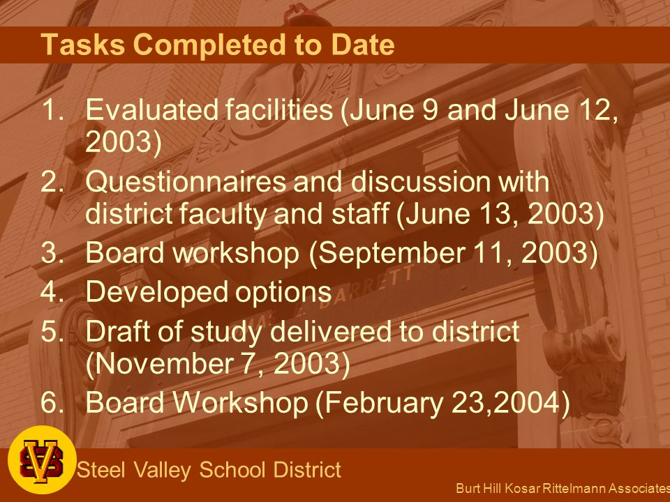 Burt Hill Kosar Rittelmann Associates Steel Valley School District Park Elementary School Option 2 Renovate building to receive Reimbursement Ground