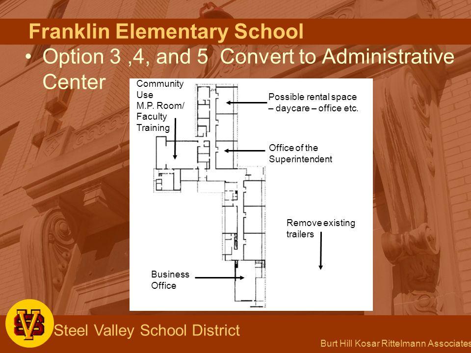 Burt Hill Kosar Rittelmann Associates Steel Valley School District Franklin Elementary School Option 3,4, and 5 Convert to Administrative Center Possi