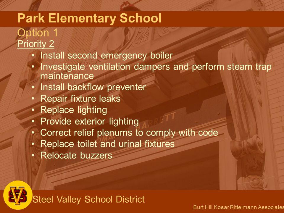 Burt Hill Kosar Rittelmann Associates Steel Valley School District Park Elementary School Option 1 Priority 2 Install second emergency boiler Investig