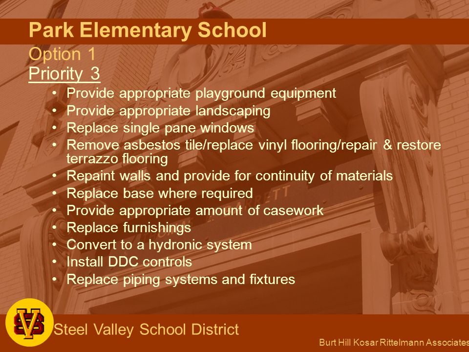 Burt Hill Kosar Rittelmann Associates Steel Valley School District Park Elementary School Option 1 Priority 3 Provide appropriate playground equipment