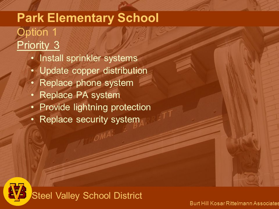 Burt Hill Kosar Rittelmann Associates Steel Valley School District Park Elementary School Option 1 Priority 3 Install sprinkler systems Update copper distribution Replace phone system Replace PA system Provide lightning protection Replace security system