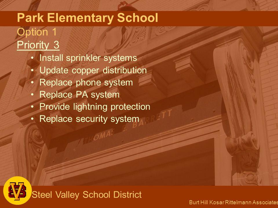 Burt Hill Kosar Rittelmann Associates Steel Valley School District Park Elementary School Option 1 Priority 3 Install sprinkler systems Update copper