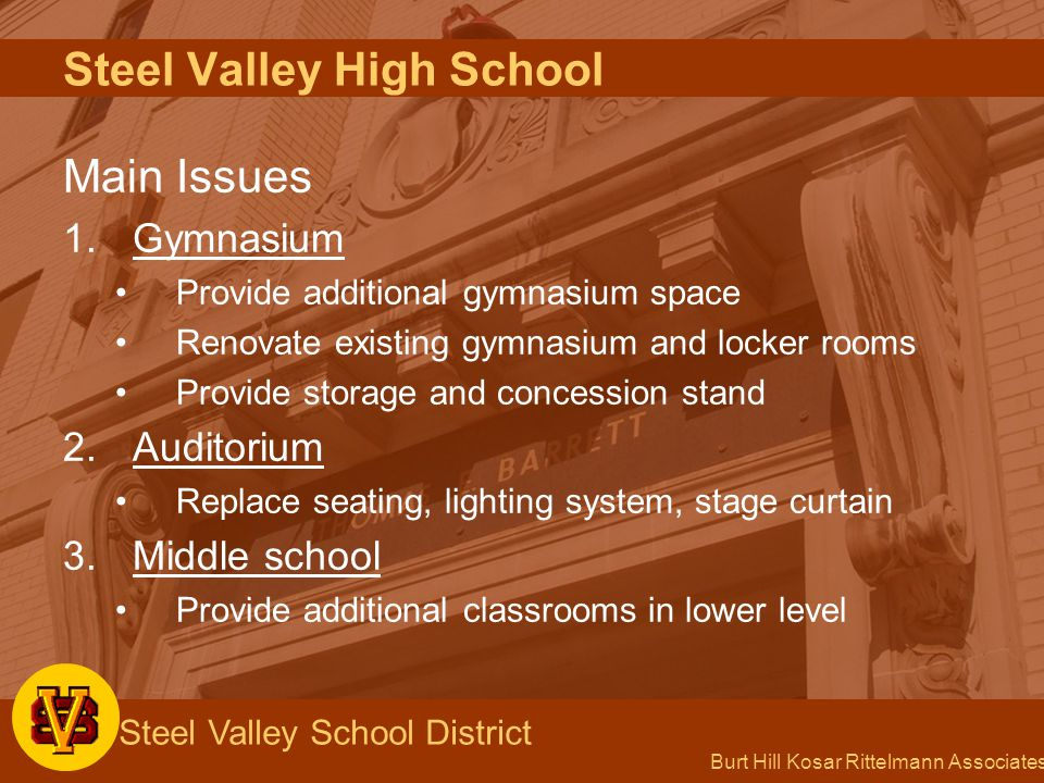 Burt Hill Kosar Rittelmann Associates Steel Valley School District Franklin Elementary School Option 2 Renovate building to receive Reimbursement Move school functions out of administrative wing Additions to enable removal of trailers Provide library
